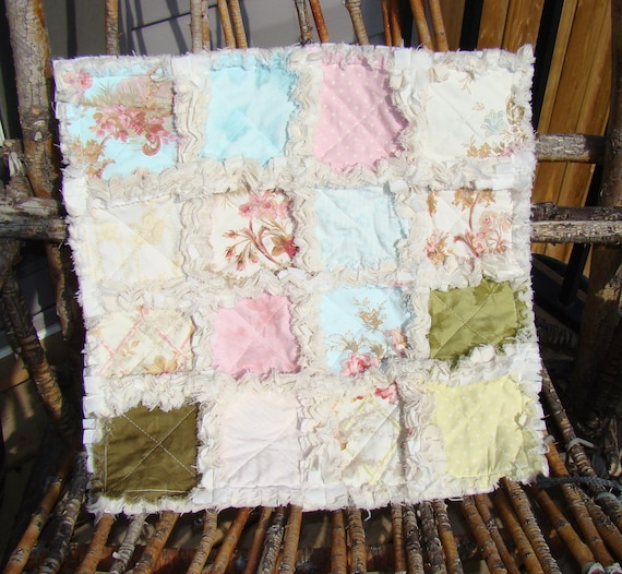 Rag Quilt - Lovey - Old-Fashioned Shabby Chic - Cream Pink Soft Blue Green, Security Blanket, Photoprop, Ready to Ship