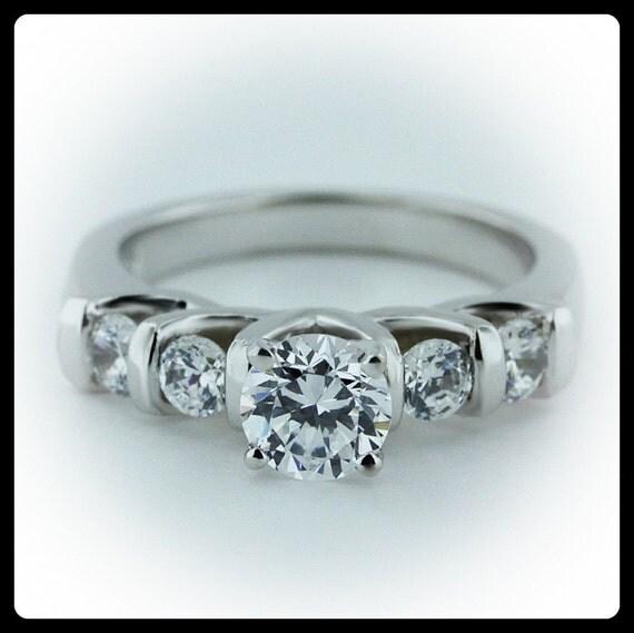 Moissanite Engagement Ring Diamond Side Stones 14k Gold Ring
