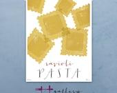 Ravioli pasta graphic culinary art illustration signed artist's print 12 x 16