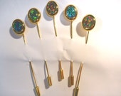 Bulk Parcel lot Synthetic Opal Stickpin 10x8mm Triplet Gold Plate 5 pieces.item 40490.