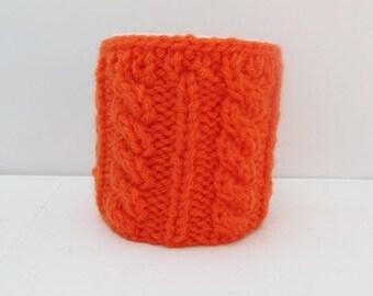 Knitted Orange Cup Cozy, Mug Cozy, Tea Orange Cup Cozy, Coffee Cozy