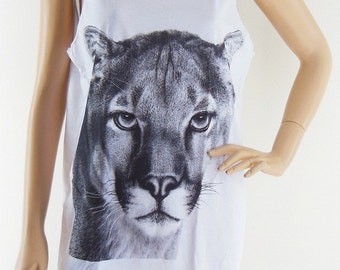 Lion Face Animal Cute Tank Top Lion Shirt women tee shirt men tank graphic tee tumblr hipster funny top quote top gift Screen Print Size M