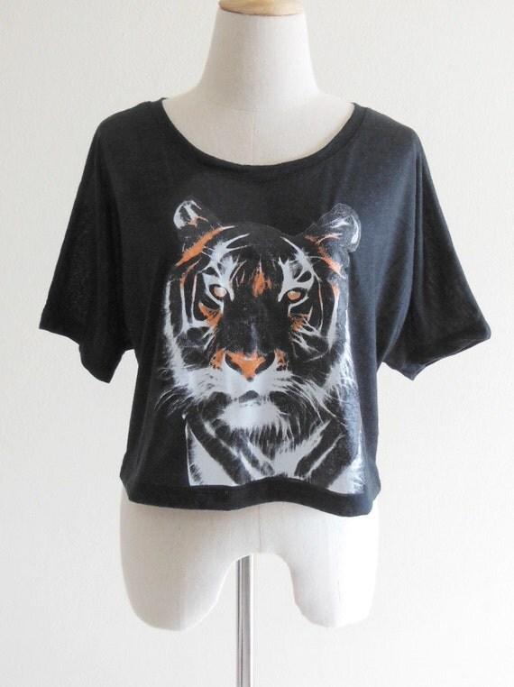 Tiger T-Shirt Animal Style Tiger Shirt Black T-Shirt Crop Top Tee Shirt Screen Print Size M