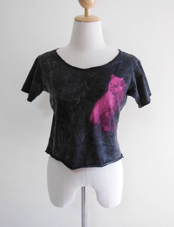 Cat Animal Style Women Crop Top Tee Shirt Bleached Shirt Black T-Shirt Cat T-Shirt Size M
