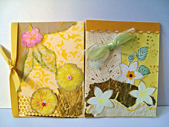 Hand made cards: Yellow - Gold - Collage - mix media - Flower cards - Blank greeting cards - set of 2 - handmade - Wcards