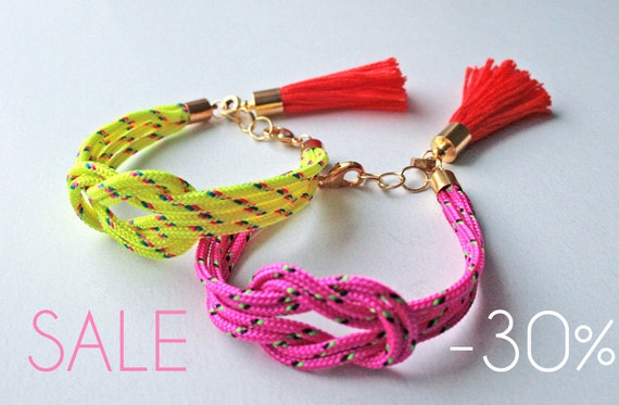 SALE Neon yellow knot rope bracelet with tassel charm