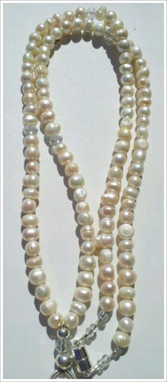 Beaded Lanyard  Freshwater Potato Pearls  6-8mm with White Czech Crystals