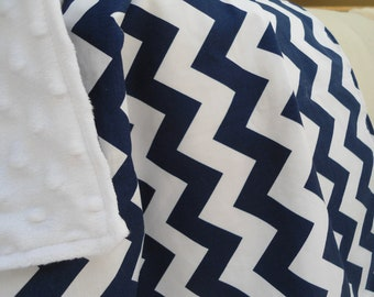 """Personalized Navy Chevron Baby Blanket with White Minky, Boys and Girls, 29"""" x 35"""" Custom Embroidery, Car Seat Receiving Stroller Blanket"""