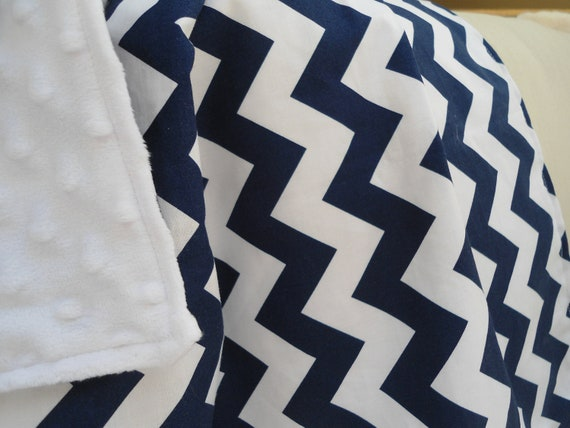 "Personalized Navy Chevron Baby Blanket with White Minky, Boys and Girls, 29"" x 35"" Custom Embroidery, Car Seat Receiving Stroller Blanket"