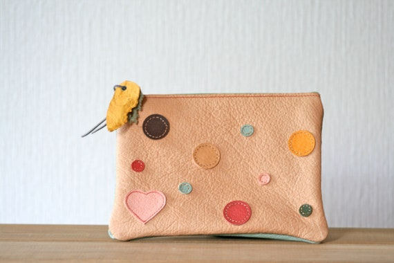 On sale, 30% off, Handmade leather pouch, Dots, Hearts on the back, One of a kind, Zipper pouch