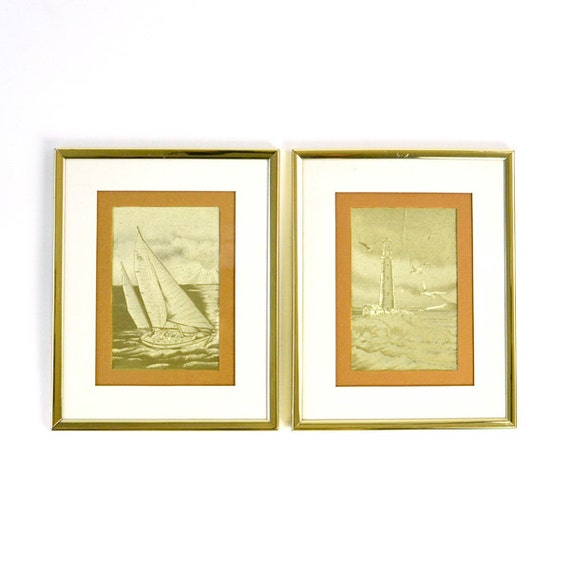 SALE Nautical Sailboat & Lighthouse Gold Etching Art by Manifestations, Framed and Matted - Vintage Home Decor
