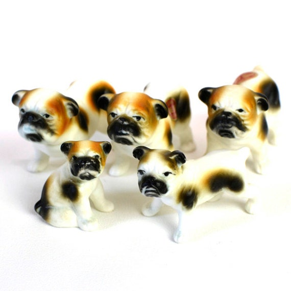 English Bulldog Family Figurine Set - Bone China, Made in Japan - Large, Medium, Small Sizes - Vintage Home Decor or Collection