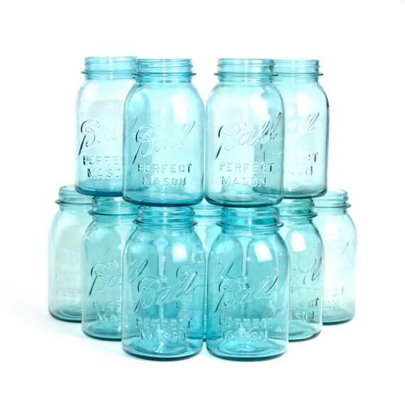 blue ball perfect mason quart size glass jar circa 1920 39 s. Black Bedroom Furniture Sets. Home Design Ideas