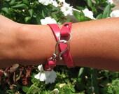 Fuschia faux leather bracelet