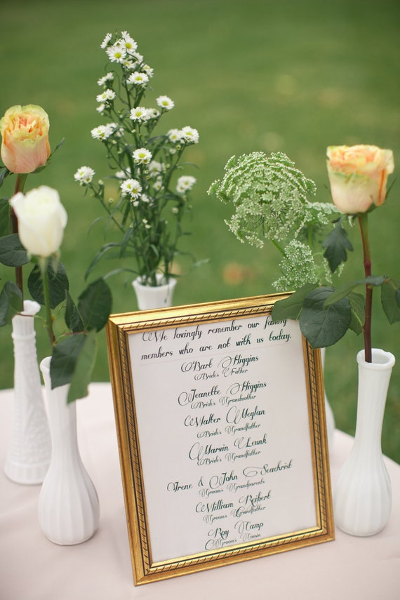 Wedding Remembrance Sign Customized