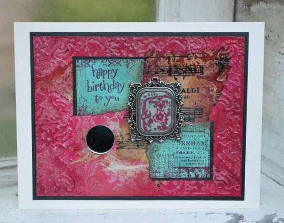 OOAK Birthday Card, Pink Teal Pendant, Chalk and Slate cards