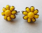 60s 70s Vintage Clip-on Bright Yellow Beaded Earrings