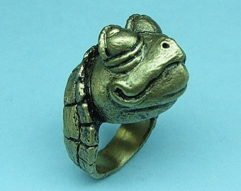 """Whimsical Bronze Turtle Head Ring """"Stickin' My Neck Out"""""""