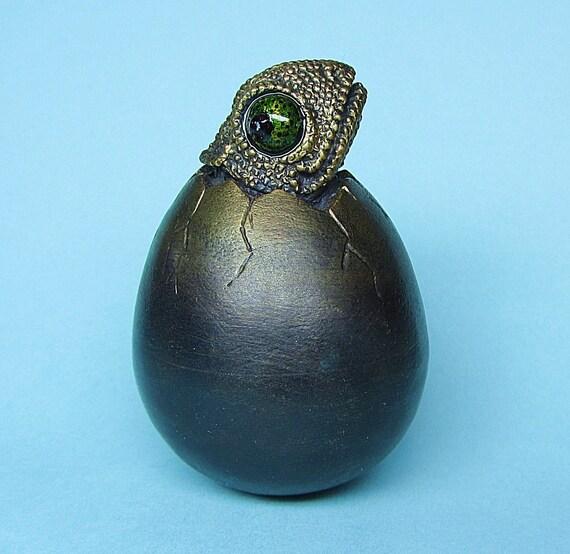 "Whimsical Kinetic Bronze Egg & Baby Chameleon Desk Top Sculpture ""Eggstreme Hatchling Series"""