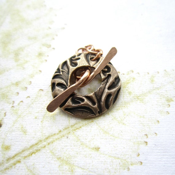Handmade toggle clasp, round toggle clasp, 2cm bronze toggle clasp - 1