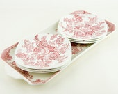Vintage - Beautiful pink cake serving dish (tray) and 6 small  plates - Enoch Wedgwood Tunstall LTD Asiathic  Pheasants