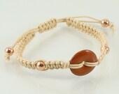 Natural Waxed Cotton Macramé Red Jasper Donut Bracelet