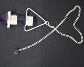 New Healing Amethyst Faceted 2 Pieces Pencil Pendulum With Amethyst Pagan ET A14/1