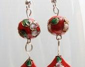 Long red earrings
