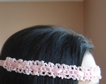 Pink Headband Wedding Crochet Women and Teens - Sale