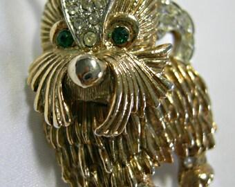 Emerald Rhinestone Eyes - Clear Pave Rhinestones - Gold Tone Shaggy Dog Brooch Pin - Signed CAPRI - Vintage 1952 - 1977