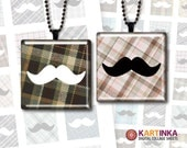 MUSTACHE on PLAID 1x1 inch and 1.5x1.5 inch Digital Collage Sheet Printable Download for pendants magnets