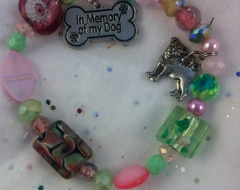 In Memory of My Dog Animal Rescue Charm Beaded Bracelet-MADE TO ORDER-Any Color Combination-Support Animal Rescue-Beloved Pet-Rainbow Bridge