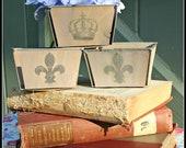 Set of 3--Metal-Rimmed Wood Berry Basket Boxes Paint Washed with Vintage Crown, Fleur de lis Images
