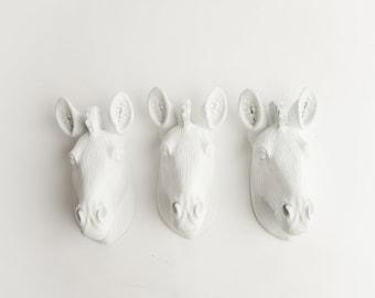 The Myras - Set of 3 White Mini Resin Zebra Heads- Resin White Faux Taxidermy- Chic & Trendy
