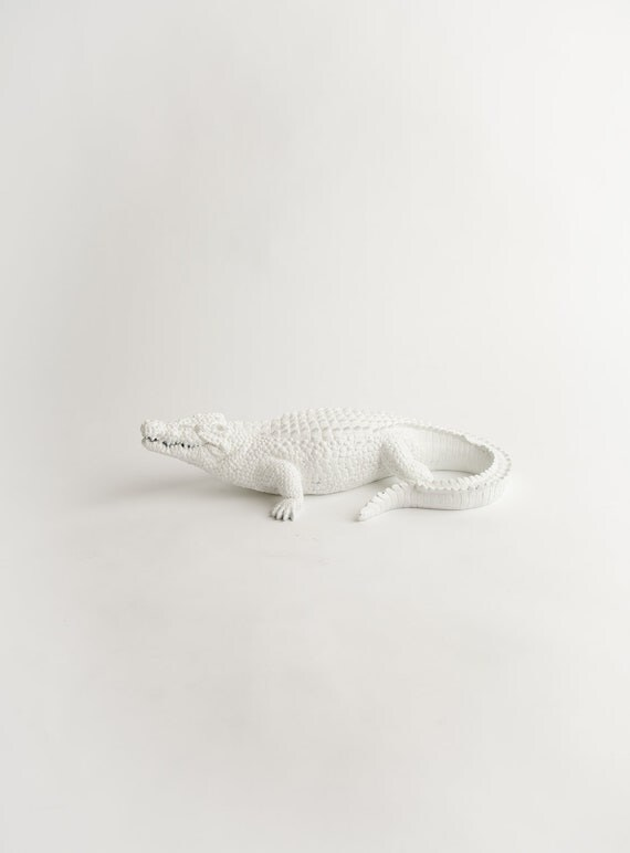 The Argus - White Alligator Decoration - Animal Statue - Faux Taxidermy