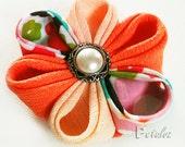 Peach Kanzashi Flower Hairclip - Sunshine