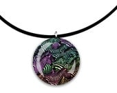Zebra art, dark Rainbow colors, handmade jewelry, round Glass tile pendant, stripes, striped horses, wild animal art