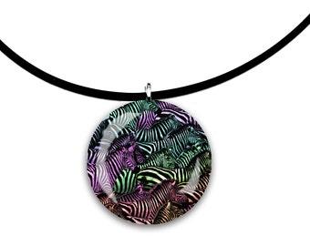 Zebra art, dark Rainbow colors, handmade jewelry, round Glass tile pendant, stripes, striped horses, wild animal art
