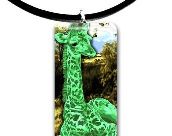 cute baby Giraffe artwork glass tile pendant, green, wildlife, handmade