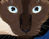 Title: Eyes of Love (siamese seal point ) signed by artist 13x19 cat breed print