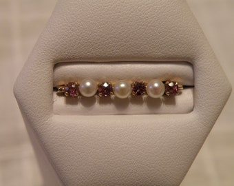 14K Gold Pearl and Tourmaline Pin - marked 14K