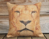 SALE Animal Pillow Cover of Lion, Burlap Pillow, Throw Pillow, Cusion, African Decor, 16x16