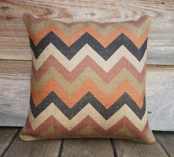 MadMen Chevron Pillow Cover, Burlap, Feed Sack, Industrial, Decorative Throw Pillow, Zig Zag, Designer Pillow, Orange Black Beige 16x16