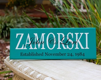 Last Name Signs, Established Date Wood Sign. Perfect for Wedding Gift, Bridal Shower or Anniversary Gifts