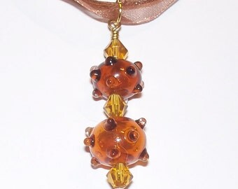 Handmade Colorful Double Brown & Amber Bumpy Lampwork Pendant with Swarovski Crystals on an Organza Ribbon