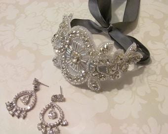 Rhinestone Crystal Ribbon Cuff / Bridal Ribbon Bracelet /  The Stella Cuff