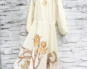 RESERVED ----60s/70s Hippie Peasant Dress, Floral Iris, Earth Tone, Brown, Tan, Beige, Yellow,  Open Sleeve