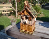 Rustic  bird house, Chalet with western and Texas influences blue bird house.