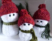 Set of 3 Adorable Snowmen For Your Mantel  Christmas Decorations  Crochet PATTERN