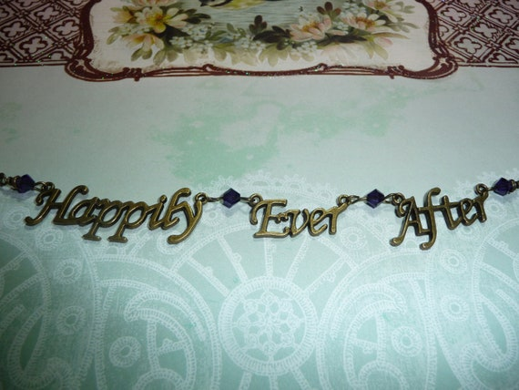 Happily Ever After necklace featuring Purple Swarovski Crystals by vintagerust